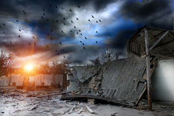 Gloomy apocalypse landscape Wall mural