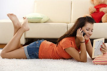 Pretty girl talking to boyfriend on mobile