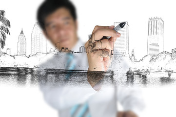 Business Man Drawing city scape