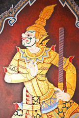 Art thai painting in temple, Thailand