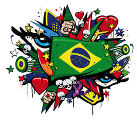 Brazil Flag graffiti brazilian pop art carnival illustration