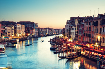 Spoed Fotobehang Venetie Grand Canal after sunset, Venice - Italy