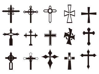 religious cross symbol set