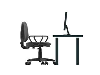 Chair and table with desktop. 3D rendered Illustration. Isolated