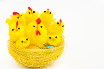 easter chickens and hen in a nest