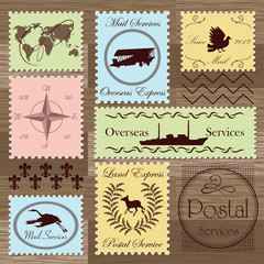 Vintage postage stamps and elements illustration collection