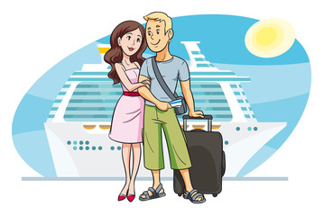 Young couple going on vacation by cruise boat. AI10, EPS8
