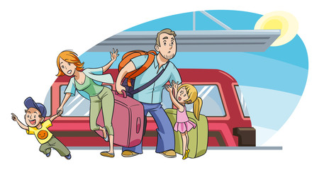 Young family with two kids going on vacation by train