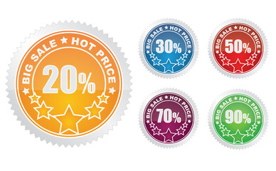 set of colorful vector sale stickers