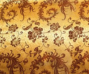 Fragment of chinese golden silk