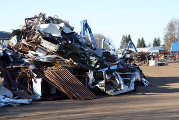 Metal scrap yard, broken junk heap