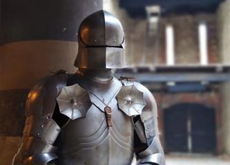 Medieval armor inside a castle
