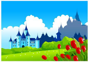 Printed kitchen splashbacks Castle Fantasy castle on green landscape