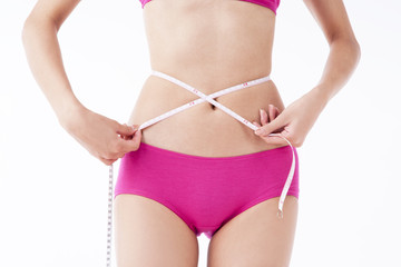 asian woman's body parts put on pink underwear