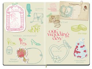 Vector Scrapbook Design Elements - Wedding Set - hand drawn in n