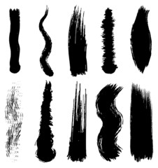 Set of grunge brush smoothed strokes