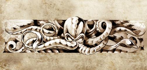 Sketch of tatto art, octopus illustration