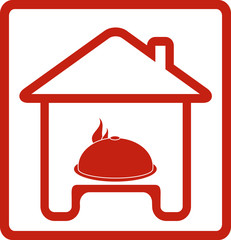 icon with house and hot dish on table silhouette