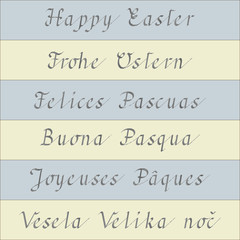 Happy Easter (handwriting in six different languages)