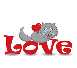"""Cat with the heart on the red word """"love""""-vector illustration"""