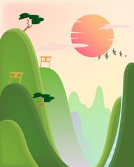 Poster de jardin Oiseaux, Abeilles asian landscape