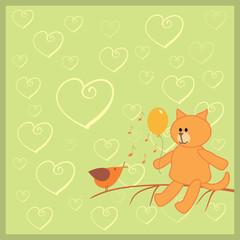 orange cat and singing bird
