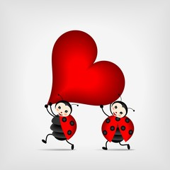 Poster Lieveheersbeestjes ladybugs carrying big red heart