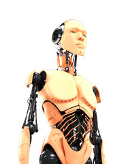 Unusual cyborg with human skin and opened parts of body