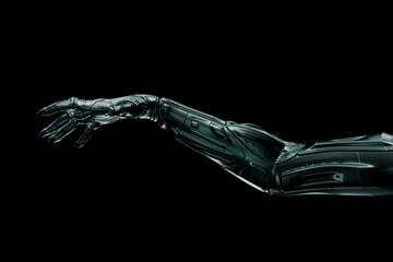 Black futuristic hand on isolated on black background