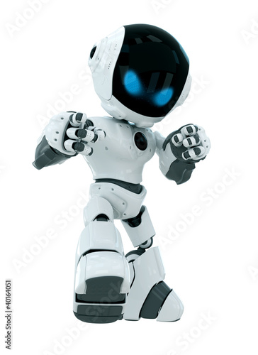 """""""Cute white robot with blue eyes"""" Stock photo and royalty ..."""