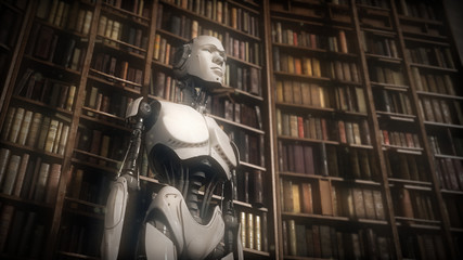 Unusual robot in library
