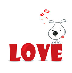 "Funny dog sitting on the red word ""love""-vector illustration"