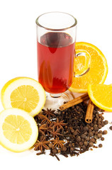 a glass of mulled win