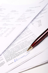 business documents and signed contract