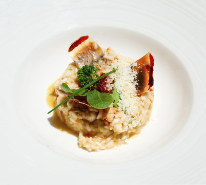 Closeup of risotto with lobsters