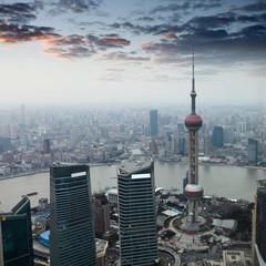 Aluminium Prints Shanghai shanghai at dusk with sunset glow