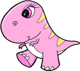 Cute Girl Pink Dinosaur Animal Vector Illustration Art
