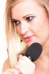 woman singing rock song microphone isolated