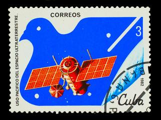 CUBA - CIRCA 1982: A stamp printed in CUBA, satellite, space sta