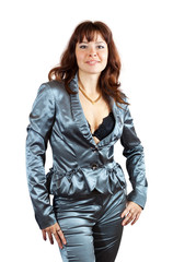 Sexy girl in silver suit