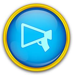 Mavi altın çerçeveli duyuru ikonu