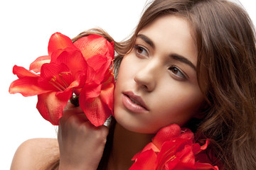 lovely woman with red flowers