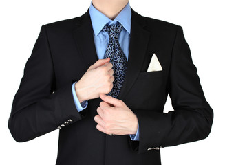 businessman with tie isolated on white