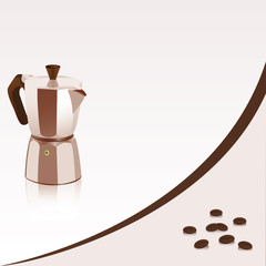 Background with coffee-maker and coffee beans