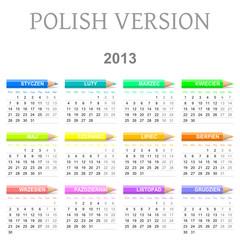 2013 Polish vectorial calendar with crayons