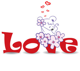 "Mouse with flowers on the red word ""love""-vector illustration"