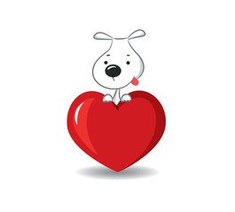 A funny dog sitting on the red heart -vector illustration