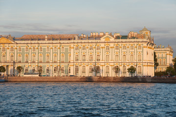 Iconic facade of Winter Palace with Neva river, Saint Petersburg