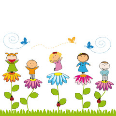 Poster Lieveheersbeestjes Happy kids in garden