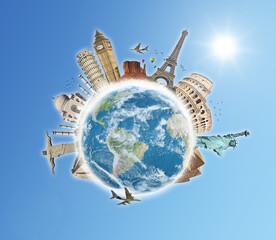 Fototapete - Travel the world monuments concept 5